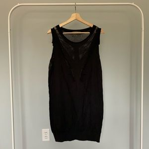 All Saints Black Mesh Tunic Tank